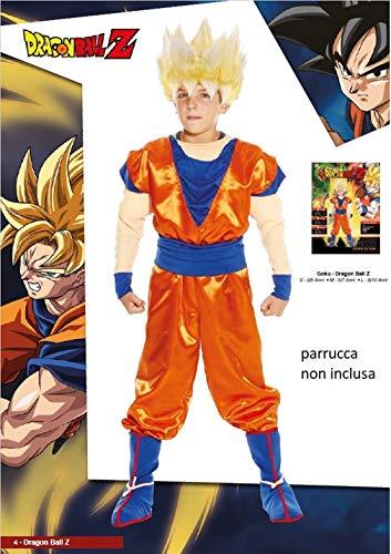 Hof abito vestito travestimento bambino dragon ball goku super sayan con muscoli giochi preziosi (5-7 anni)