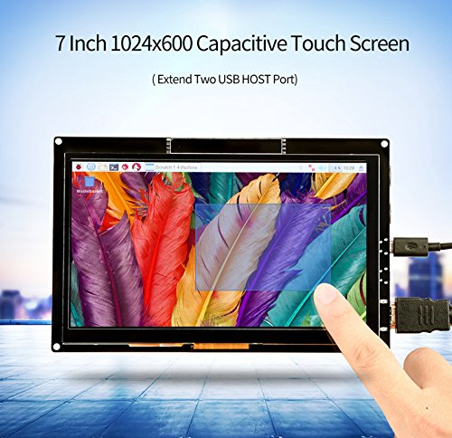 7 inch Monitor, HDMI Capacitive Touch Screen 1024*600 High Solution, TFT LCD Display For Raspberry Pi, BB Black, Win10, Mac Book Pro.