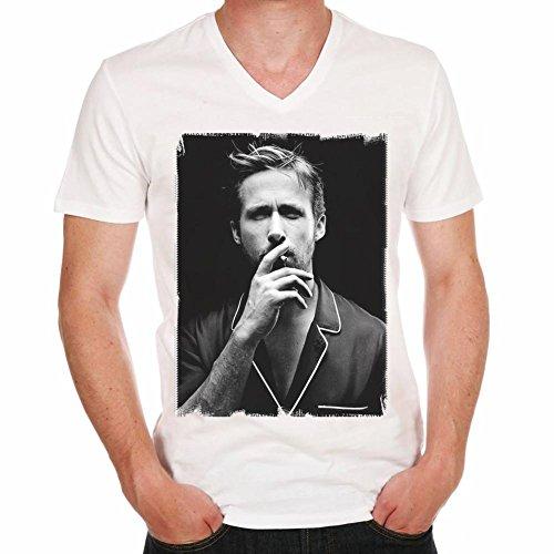Ryan Gosling H:Herren T-shirt,Prominenter foto - Weiß, L, t shirt herren,Geschenk