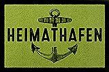TÜRMATTE Fußmatte HEIMATHAFEN Maritim Eingang Einzug Flur Badezimmer Türvorleger Grün