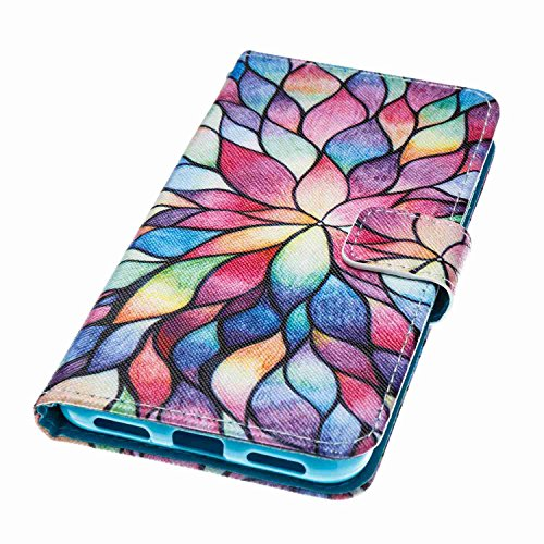 P8 Lite 2017 Hülle Case Leder, Alfort Handyhülle Ledertasche Bookstyle PU Lederhülle Flip Cover Tasche Schutzhülle für Huawei P8 Lite 2017 ( 5.2 Zoll ) Klapphülle Brieftasche Flexible Silikon Case Sch Bunt Blumen