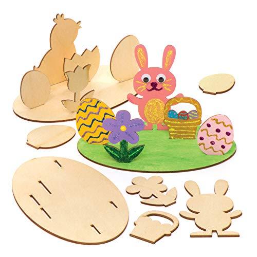 """Baker Ross Holzbilder-Bastelsets """"Ostern"""" (4 Stück) – für Kinder zum Basteln, Gestalten und als Dekoidee"""