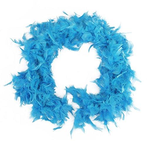 Boa de plumas azul, sofisticada, para fiestas y vestidos o como decoración, de 2 m