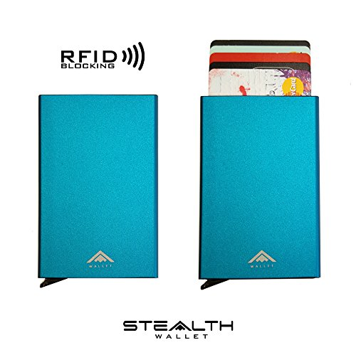 [NEW ARRIVAL] Aluminium RFID Blocking Credit Card Holder Ejector Wallet by STEALTH (Blue)