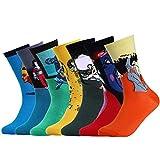 VBIGER Herren Berühmtes Gemälde Kunst Socken Retro Stricken Mehrfarbig Witzige Baumwolle Muster Socken 7 Paar