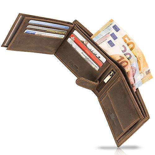 TALED Geldbeutel Lion aus hochwertigem Büffelleder mit RFID-Schutz - Herrengeldbörse inkl. E-Book für Lederpflege - Portemonnaie Wallet - Made IN Germany -