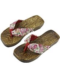 Tongs de Plage et Piscine Sandales Solide Paulownia Chaussures en Bois Antidérapage Chaussons Santé Confortable Pantoufles d'été pour Femmes