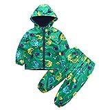 Topgrowth Impermeabile Bambino Unisex Ragazzo Pioggia Giacca Con Cappuccio Cappotto di Dinosauro + Stampa Bambini Pantaloni Neonata 2Pcs Set