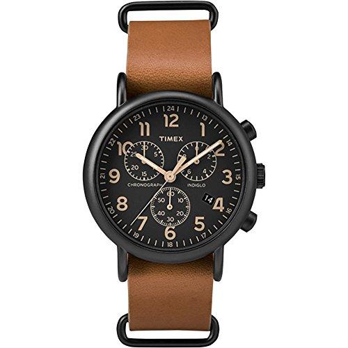 195862c1c855 Timex Reloj Chrono tw2p97500 de gran tamaño negro marrón cuero analógico  cuarzo unisex reloj