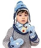 Chilsuessy 3tlg Winter Strick Mütze mit Strick Schal mit Handschuhe Set für Baby Kinder Junge Mädchen,Hauben Schal Kappen Hut , Blau, 52cm