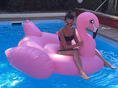 Aufblasbarer Flamingo, riesiges Schwimmtier, Wasserspielzeug in pink, Luftmatratze für den Sommer, Badeinsel für Pool und Meer, Größe 190x190x100cm -