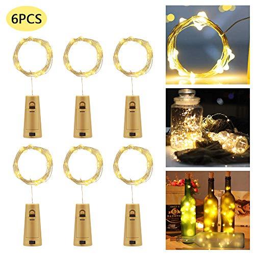 Luci per bottiglie con tappo in sughero, luci a led 2m 20 con decorazioni in vetro per bottiglia di vino per decorazioni per la tavola di nozze di natale per feste di compleanno e altro (bianco caldo)