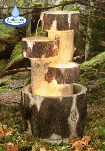Holzklötze Kaskadenbrunnen mit Beleuchtung 74,5cm