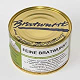 Feine Bratwurst in der 400g Dose, glutamatfreie Dosenwurst und antibiotikafreie Aufzucht, Landmetzgerei Sandritter