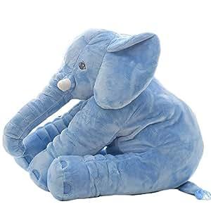 Lovous Super Soft Cute Big Stuffed Elephant Plush Doll Pillows, Baby Elephants Toys (Blue)