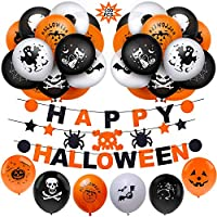 Halloween Balloons BESTZY 100PCS Halloween Party Decorations Latex Balloons Happy Halloween Banner for Halloween Theme Party Supplies Decorations Kit for Kids