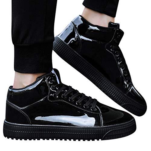 Aoogo Paare Bunte Spiegel Trend Turnschuhe Freizeitschuhe Casual Outdoorschuhe Pailletten High-Top Schuhe