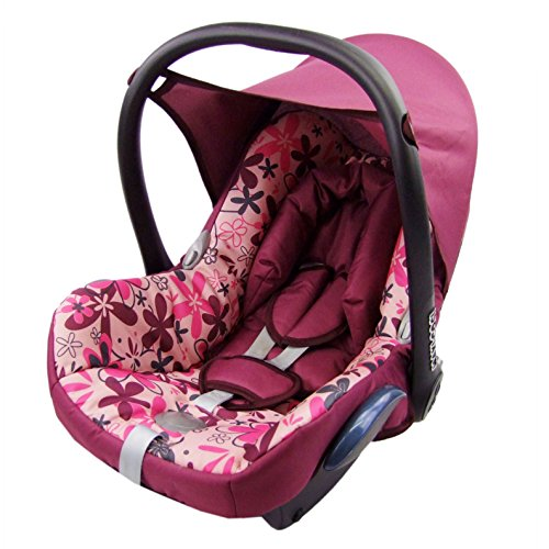 Babys-Dreams Ersatzbezug für Maxi-Cosi CabrioFix 6 tlg. BORDO MIT ROSA BLUMEN *NEU* Bezug für Babyschale Sommerbezug Cabrio Fix