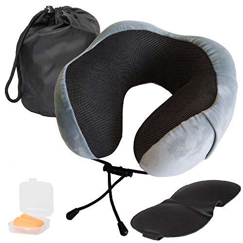 Almohada de Viaje ergonómica viscoelástica U. Kit Almohada Gris, Bolsa, Mascara y Tapones oídos. Espuma Memoria Cuello Cervical. Avión, Tren, Coche o trasporte. Funda Suave cómoda y Lavable. Hergofox