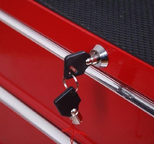 Homcom® Fahrbarer Werkstattwagen Werkzeugwagen Rollwagen Werkzeugkasten mit 5 Schubladen rot - 4