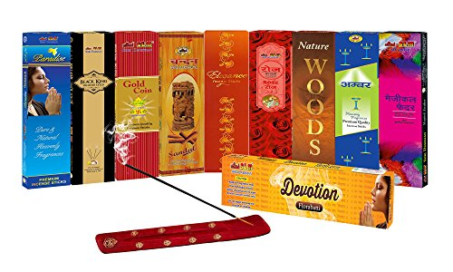 SLM CLASSIC COLLECTION Incense sticks Combo Pack of 9 - Paradise, Black king, Gold Coin, Sandal,Rose, Woods, Elegance, Amber, Magical Feather TOTAL= 144 Sticks + 1 wooden stand + Devotion Florabatti 10 Sticks(FREE)  available at amazon for Rs.111