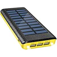 Solar Charger Power Bank 24000mAh , OLEBR portable charger big capacity external battery with high speed Input Port, 2 LED Light and 3 High Speed USB Charging Ports for iPhone, iPad, Samsung Galaxy, Android and other Smart Devices-Yellow