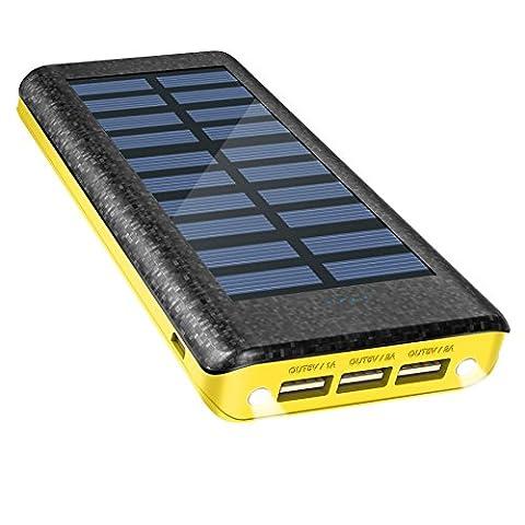 Chargeur Solaire Power Bank 24000 mAh, chargeur de batterie externe