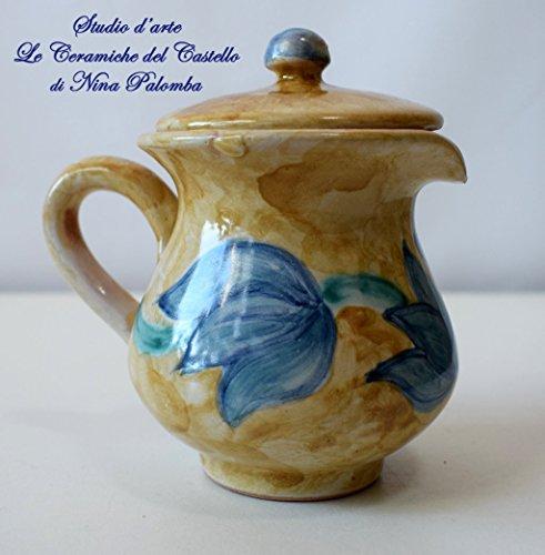 Bricco Latte Caffe con coperchio Handmade Le Ceramiche del Castello Made in Italy Dimensioni H 11 x L 11 centimetri