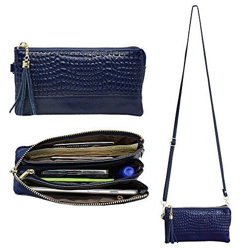 Belfen, Borsetta in morbida pelle, con cinturino a portafoglio o con tracolla, scomparti per carte di credito, per smartphone, 15 x 7,9 x 0,76 cm, colore: blu scuro