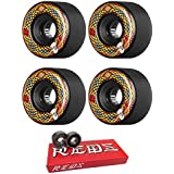 66mm Powell Peralta Snakes Longboard Skateboard Wheels with Bones Bearings - 8mm Bones Super REDS Skate Rated Skateboard Bearings - Bundle of 2 items