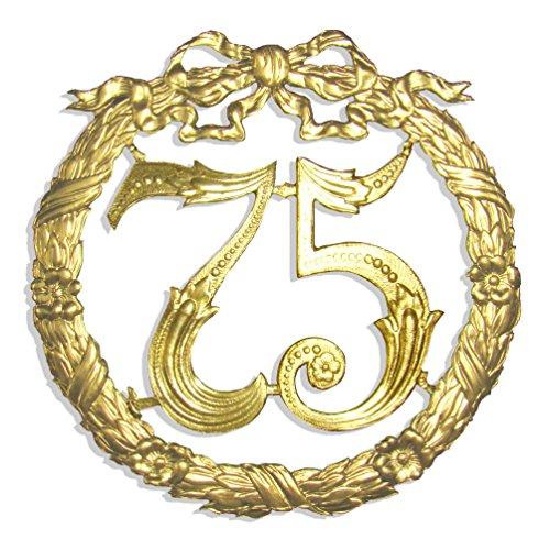 Design Gold Trim (Jubiläumszahl 75, Ø 24 cm, gold, Jubiläumskranz)