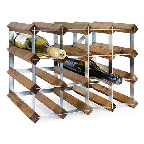 Weinregal/Flaschenregal System TREND–Weinregal aus Kiefer gebeizt, komplett montiert, stapelbar und ausziehbar, Farbe: Braun