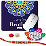 Indigifts Rakshabandhan Gifts For Brother Set Of I Love U Brother Quote Printed Mouse Pad 8.5x7 Inches, Crystal Rakhi For Brother, Roli, Chawal & Greeting Card - Rakhi For Brother With Gifts, Raksha Bandhan Gifts, Rakhi Gifts For Brother