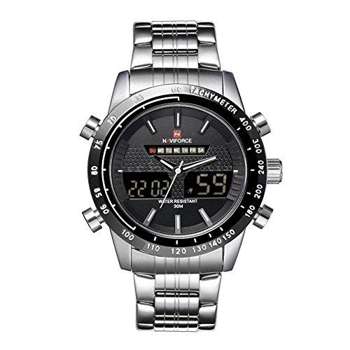 Wasserdicht Uhr - NAVIFORCE Luxus 3ATM Wasserdicht-Silber-Edelstahl-Band-Mann-Uhr-Silber + Schwarz + Weiss