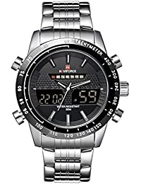 amazon co uk naviforce watches men watch naviforce luxury 3atm water resistant silver stainless steel band men watch silver black white