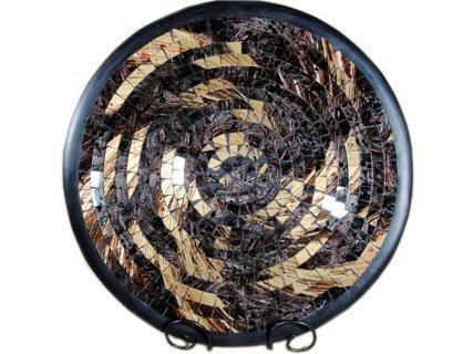 Unbekannt Deko - Schale Glasmosaik Schale rund gold rosigbraun kupfer 35cm -