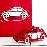 """Pop-Up Karte""""VW Käfer"""" rot & weiß - 3D Autokarte, Karte zum Führerschein, Gutschein Auto, Führerscheinkarte"""