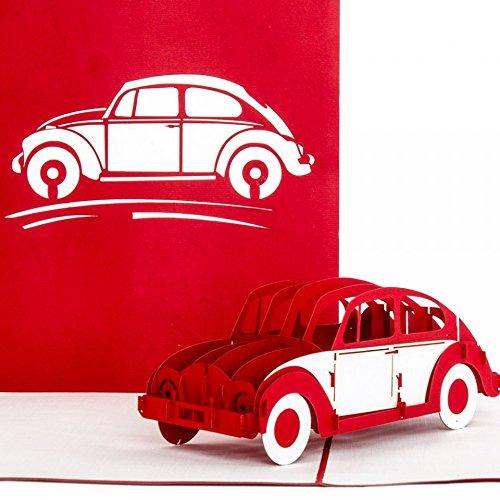 """Pop-Up Karte """"VW Käfer"""" rot & weiß - 3D Autokarte, Karte zum Führerschein, Gutschein Auto, Führerscheinkarte"""