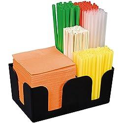 Bar de Caddy de plástico ABS, orden ayuda para pajitas, agitador, servilletas, cerillas, etc., no Juego/24x 15x 11cm, Negro, Sun