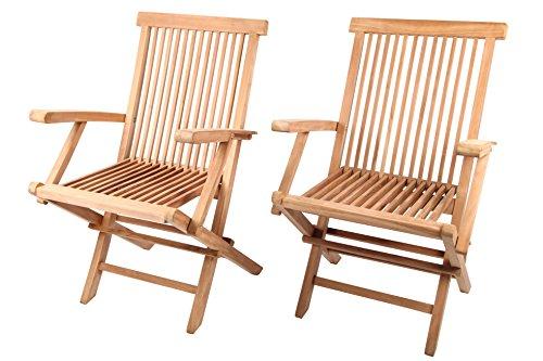 Java Teak-klappstuhl (point-garden 2 Gartenstühle Gartenmöbel aus Teak Teakholz)