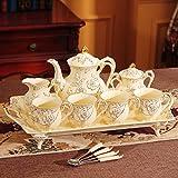 Set di Tazze da caffè Set di Tazze da tè Set da tè Tazza da tè Tazza in Ceramica Tazza da caffè con Borchie diamantate condensate incise in casa con Cucchiaio@8 Pezzi Bianco Latte Set 4 Tazze