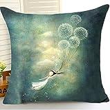 Watercolor Pflanzen Pusteblume Mädchen Baumwolle Leinen Überwurf Kissen Cover Kissen Fall Urlaub Deko 45,7x 45,7cm, baumwolle, 3, 45,7 x 45,7 cm
