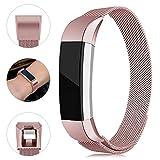 Onedream Bracelet Compatible pour Fitbit Alta/Alta HR Bracelets Femme Homme Or Rose Remplacement Acier Band (Pas de Tracker),S