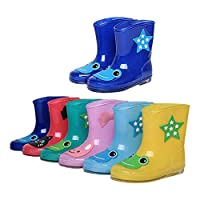 Deylaying Kids Children Waterproof Cute Rainboots Boys Girls Rubber Rain Shoes Non-Slip Water Boots Snow Boots Rain Boots