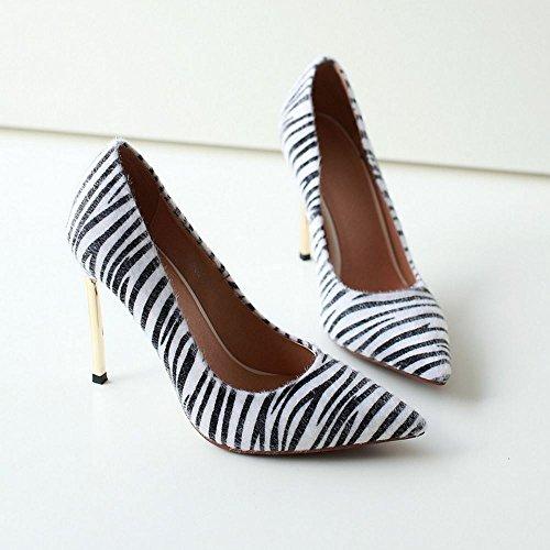 COOLCEPT Femme Mode A Enfiler Chaussures Basse Talon Aiguille Pointue Chaussures Multicolore