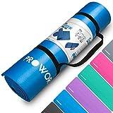 Proworks Große Premium Yogamatte Gepolstert & rutschfest für Fitness Pilates & Gymnastik mit Tragegurt in Blau - [Maße 183cm Länge 60cm Breite] - Phtalatfrei