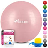 TRESKO® Ballon de Gymnastique | Anti-éclatement | Boule d'assise | Balle de Yoga | Balles d'exercices Fitness | 300 kg | avec Pompe à air (Rose-Gold, 55cm)