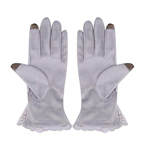 Forfar Lady Handschuhe Berührungsempfindlicher Bildschirm Sonnenblocker Short Ice Silk Lace Female Fashion für Frauen