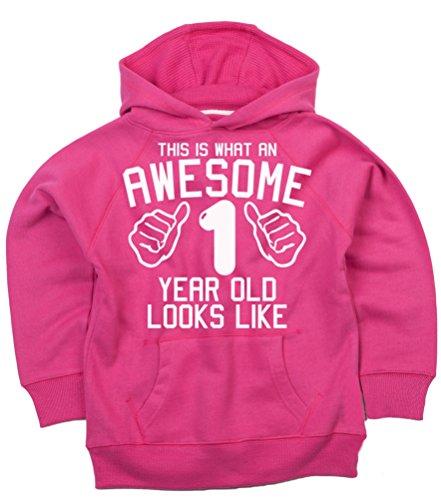 (Diese, was eine Awesome 1Jahr aussieht, Fuchsia Pink Mädchen 1. Geburtstag Hoodie in Größe 1–2Jahre mit einer weiß Glitterdruck. Edward Sinclair Hoodie)