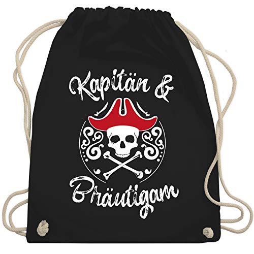 Piraten Jugend Kostüm - JGA Junggesellenabschied - Kapitän & Bräutigam JGA - Unisize - Schwarz - WM110 - Turnbeutel & Gym Bag